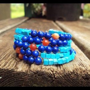 Turquoise, lapis & carnelian spiral bracelet